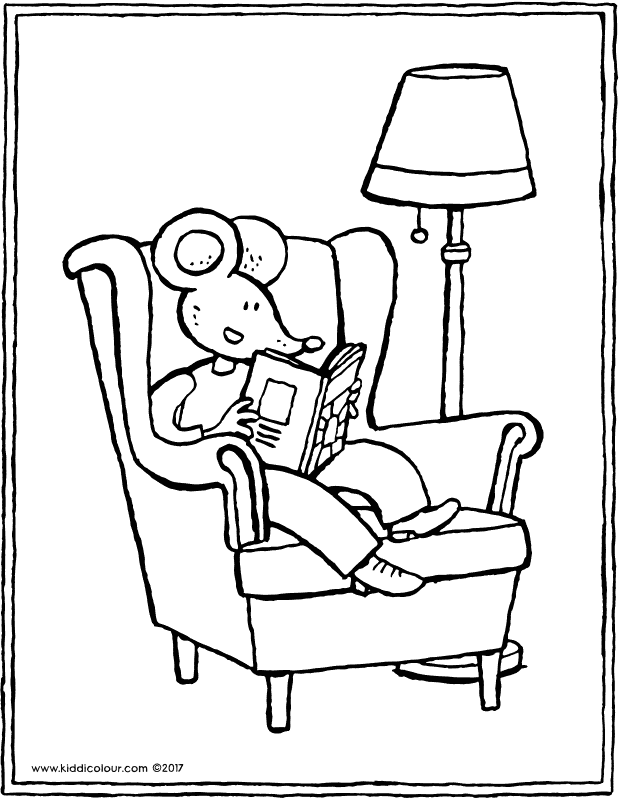 Thomas is reading a book colouring page drawing picture 01V