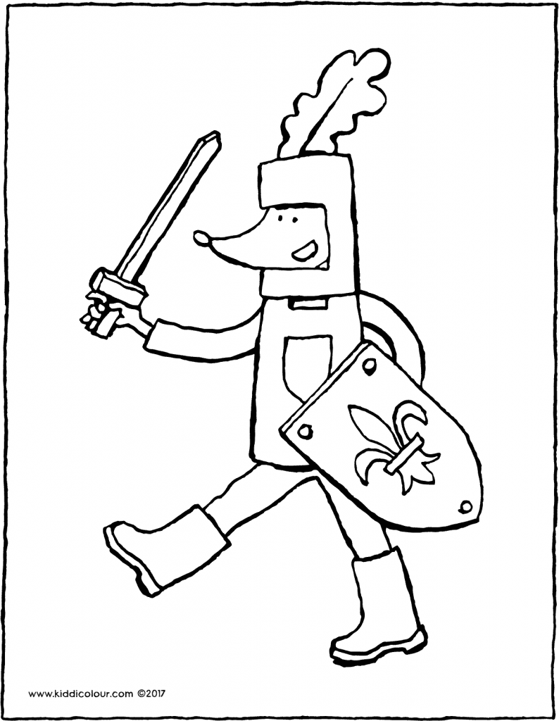 Thomas the knight colouring page drawing picture 01V