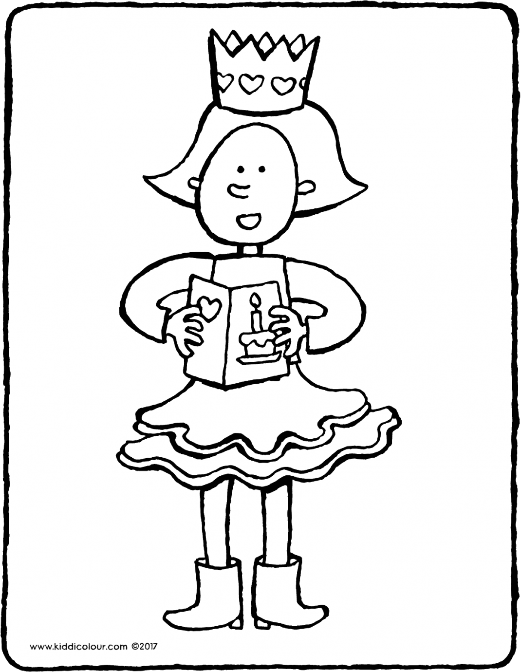 Emma's birthday colouring page drawing picture 01V