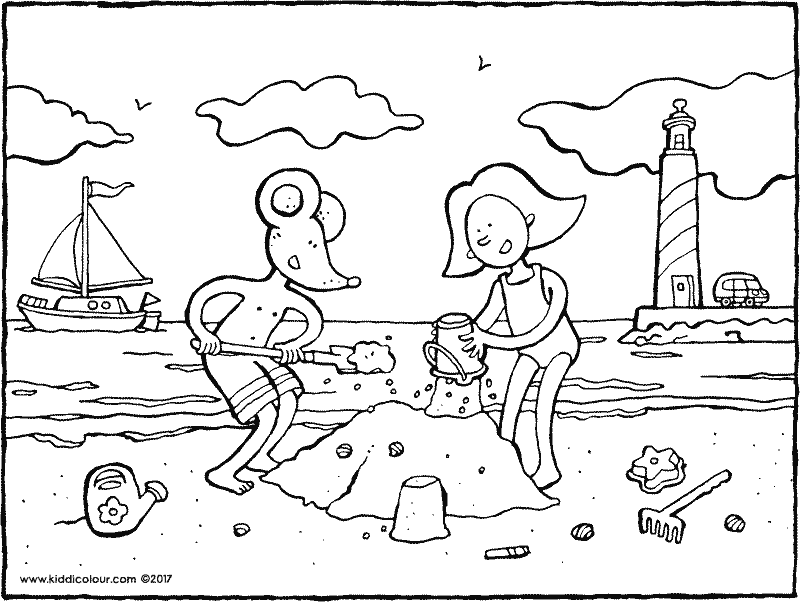Emma and Thomas building a sandcastle colouring page drawing picture 01k