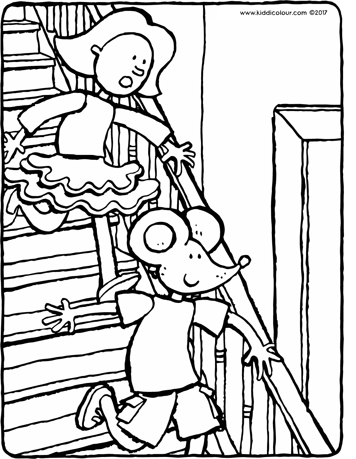Emma and Thomas walking downstairs coloring page drawing picture 01V