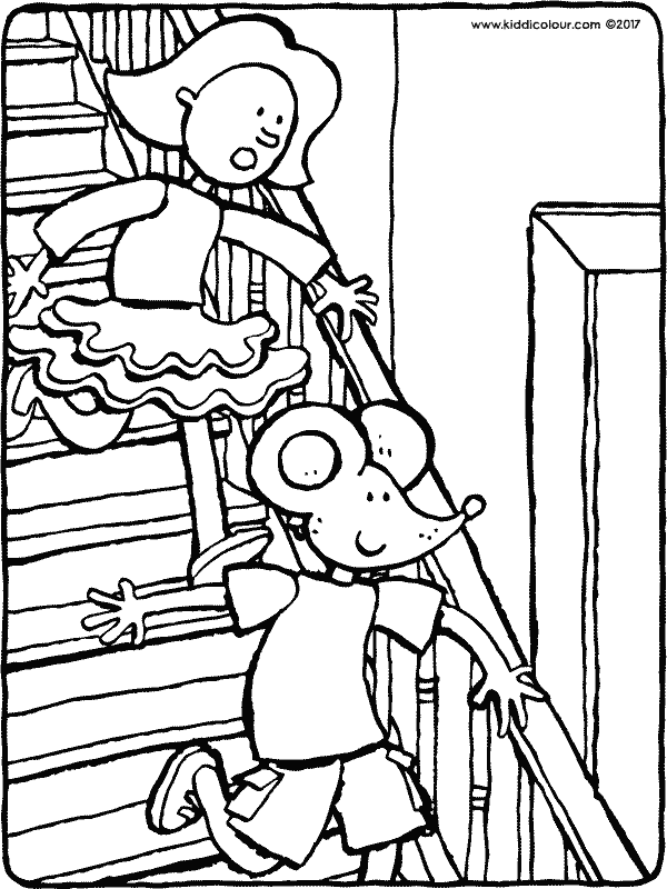 Emma and Thomas walking downstairs colouring page drawing picture 01k