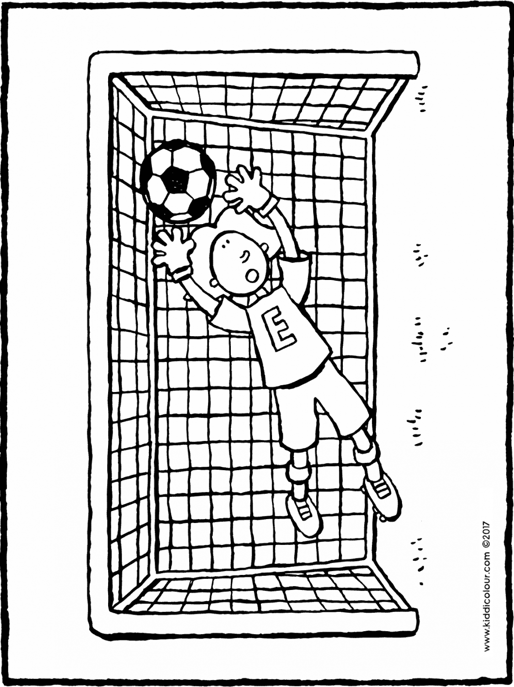 Emma in goal colouring page drawing picture 01H