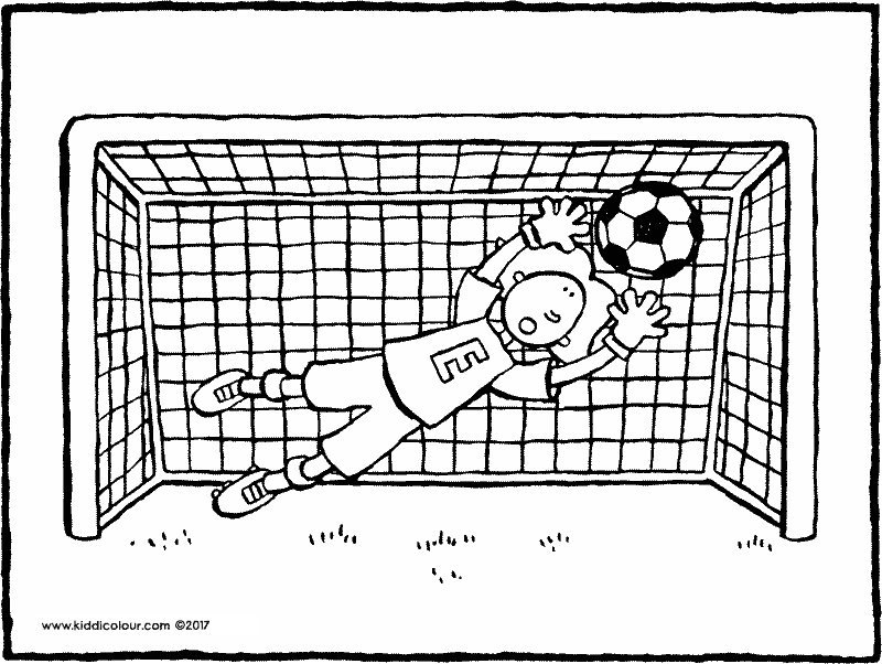 Emma in goal colouring page drawing picture 01k