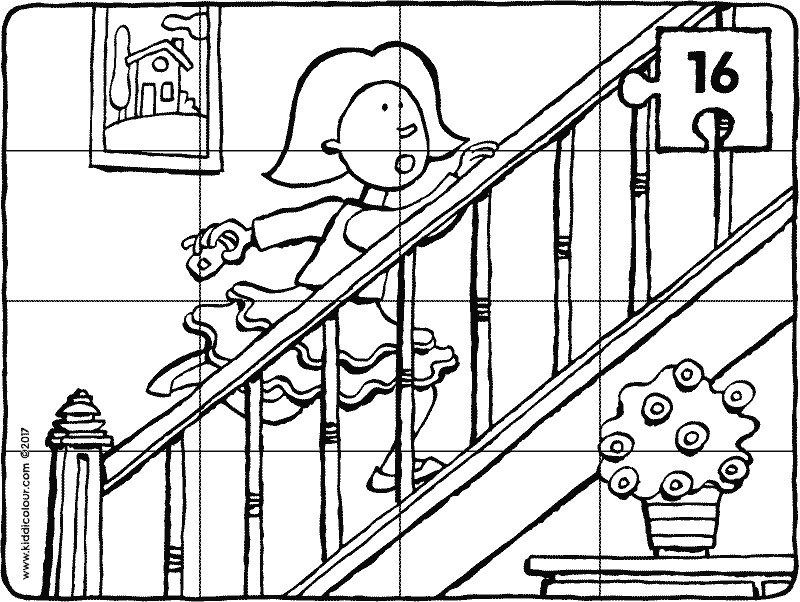 Emma is running upstairs puzzle colouring page drawing picture p16k