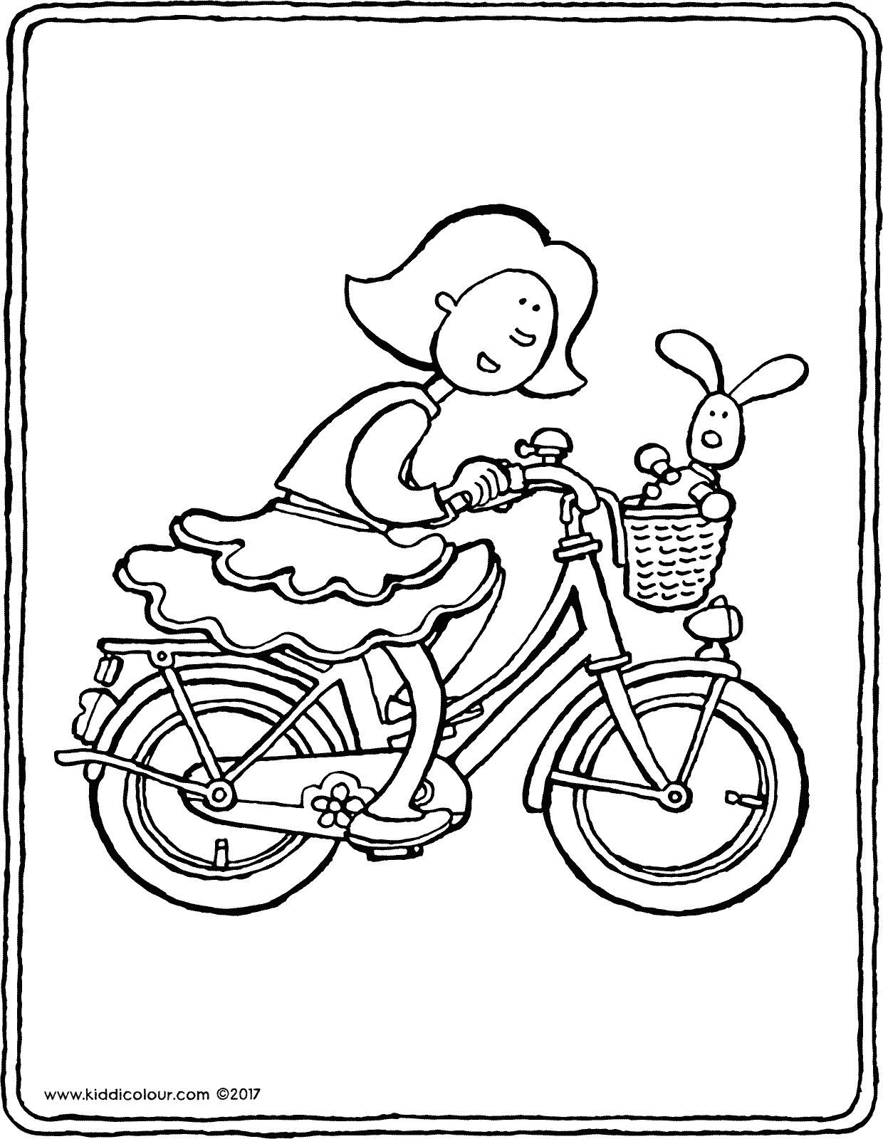 Emma on her bicycle colouring page drawing picture 01V