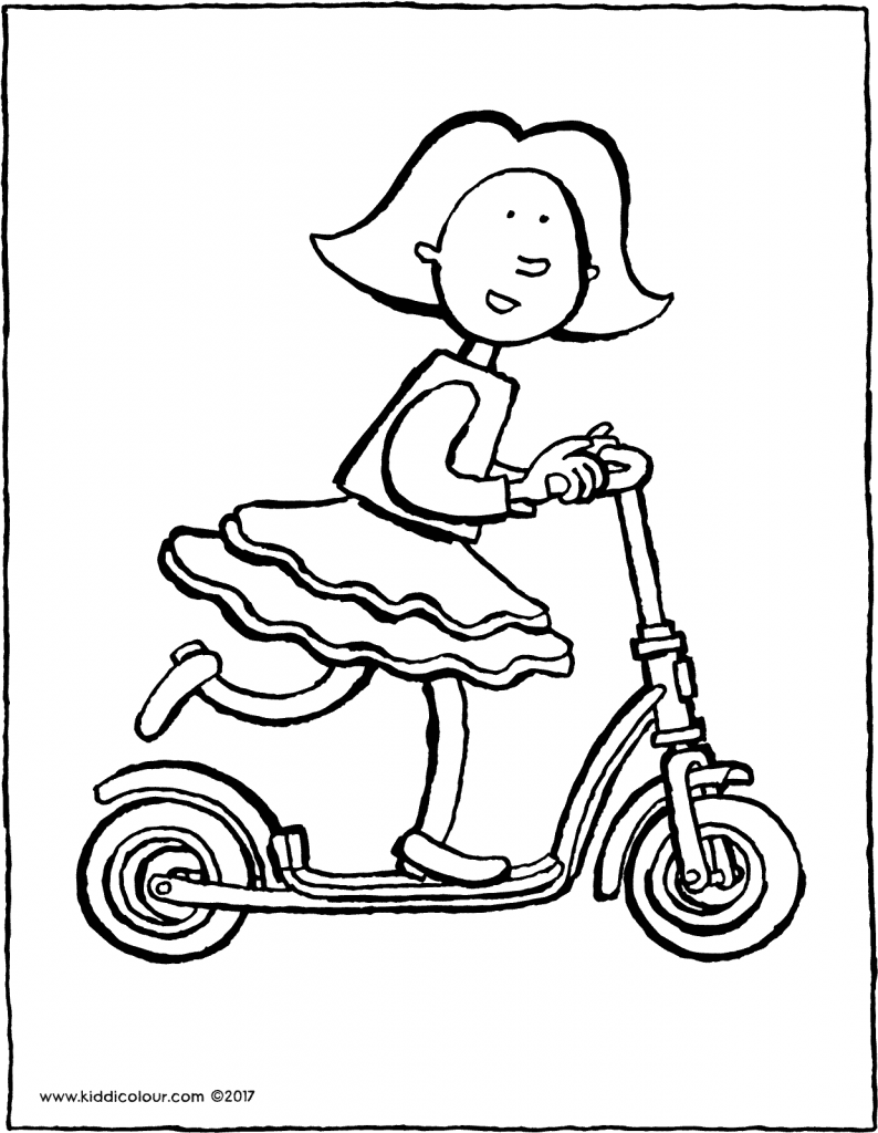 Emma on her scooter colouring page drawing picture 01V