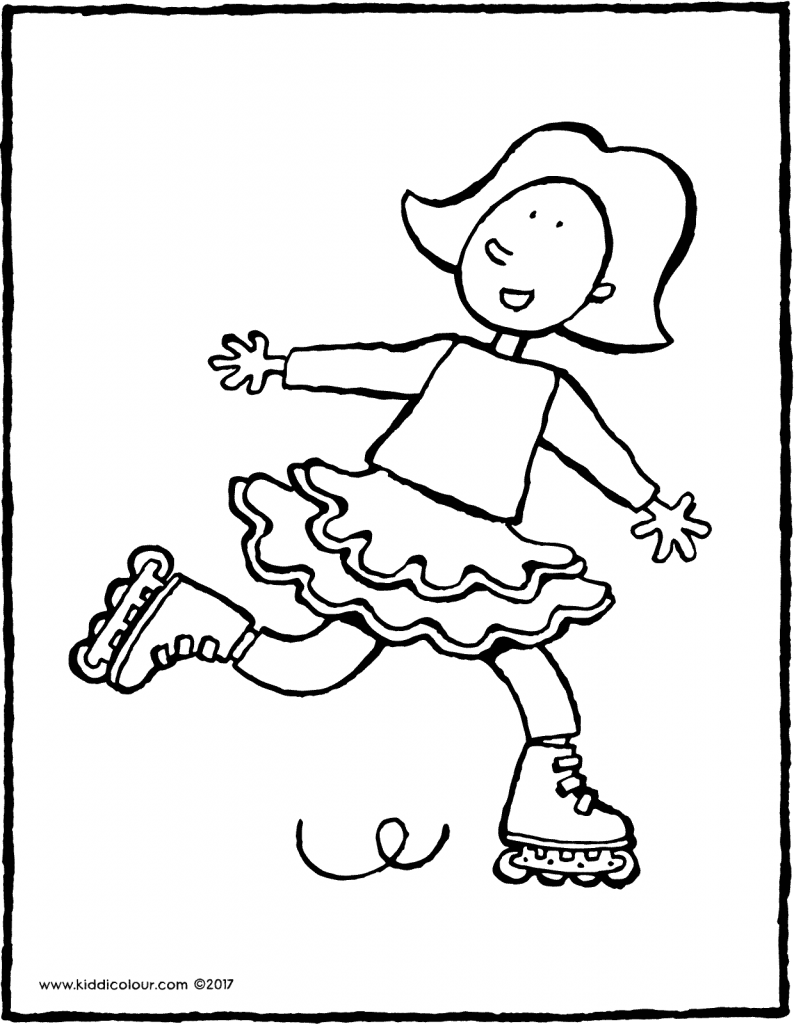 Emma on rollerskates colouring page drawing picture 01V