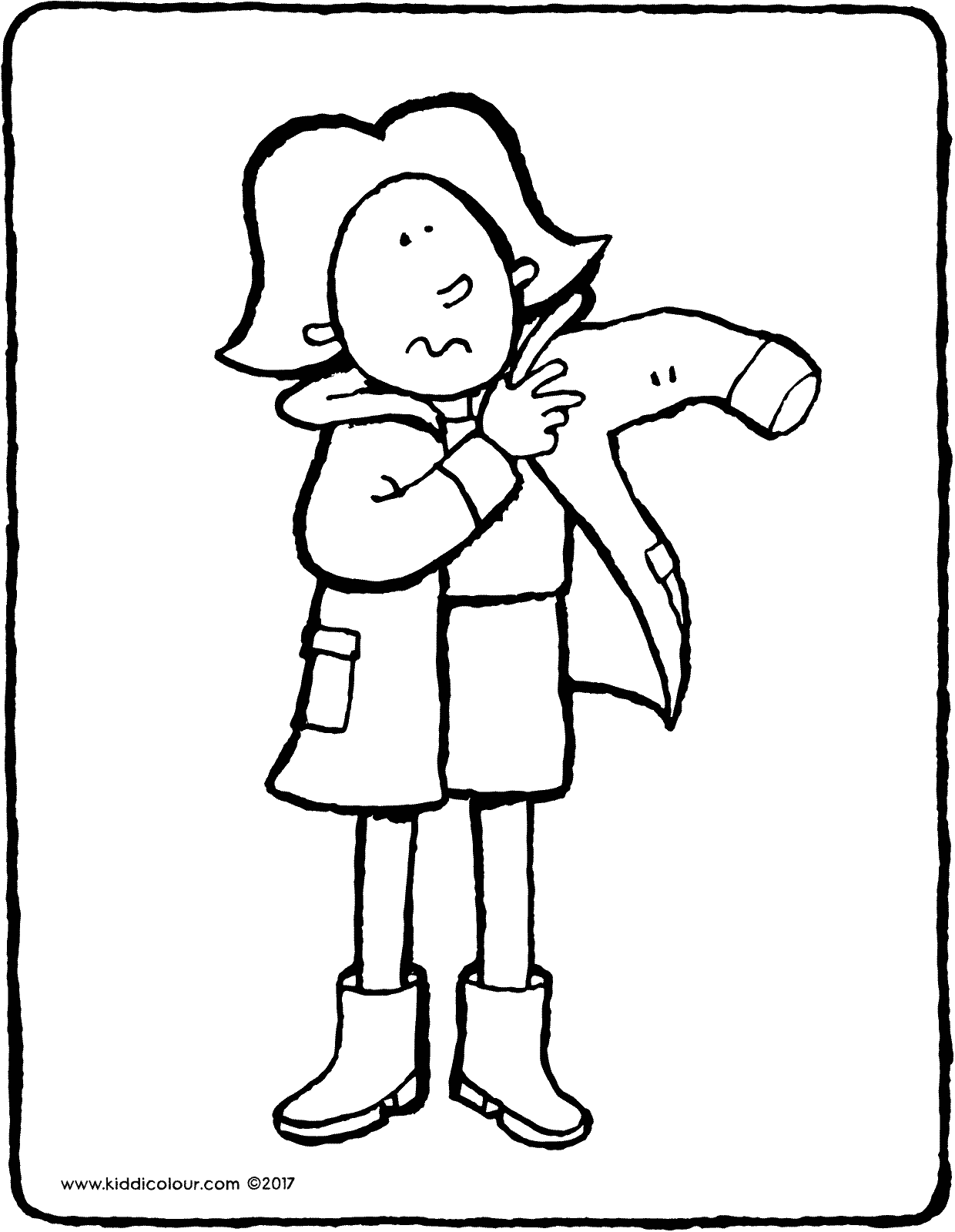 Emma putting on coat colouring page drawing picture 01V
