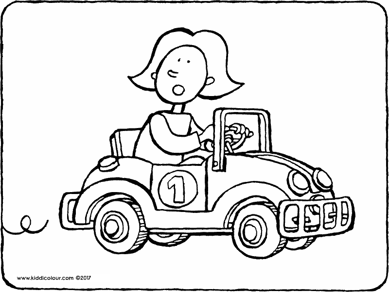 Emma riding a go-kart colouring page drawing picture 01k