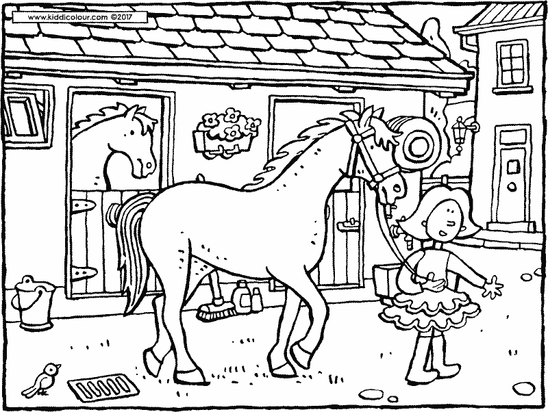 Emma with horse colouring page drawing picture 01k