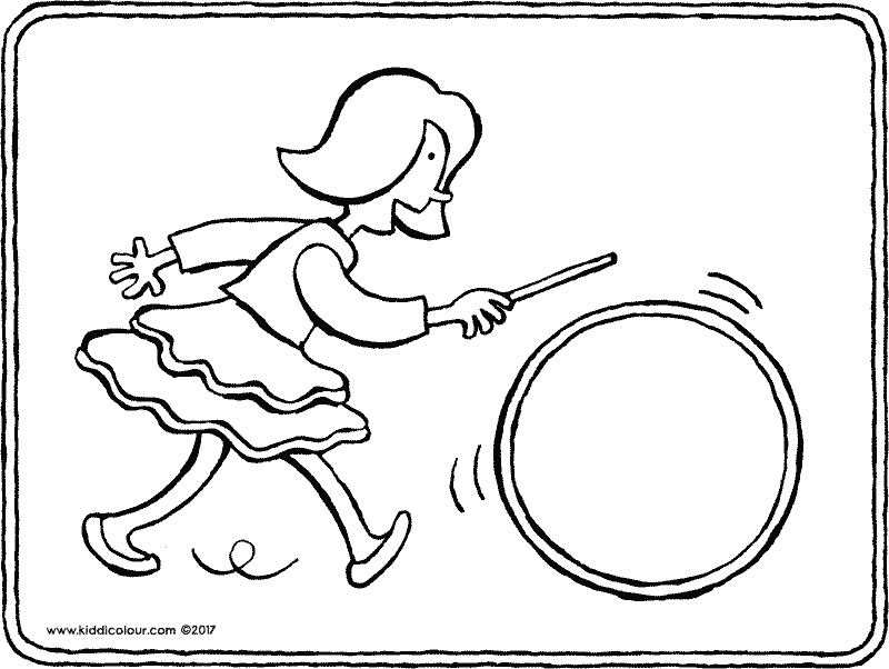 Emma with hula hoop colouring page drawing picture 01k