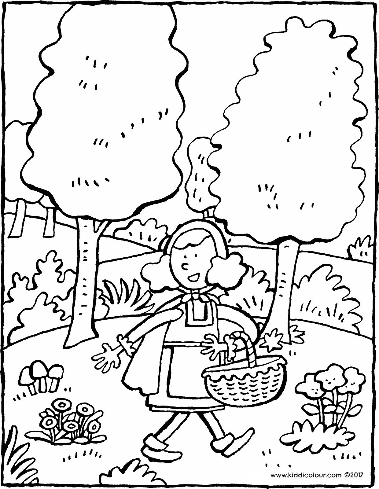 Little Red Riding Hood in the woods colouring page drawing picture 01V