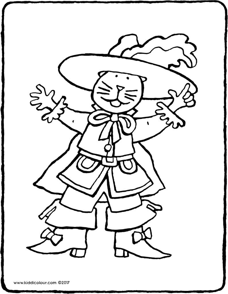 Puss in Boots colouring page drawing picture 02V
