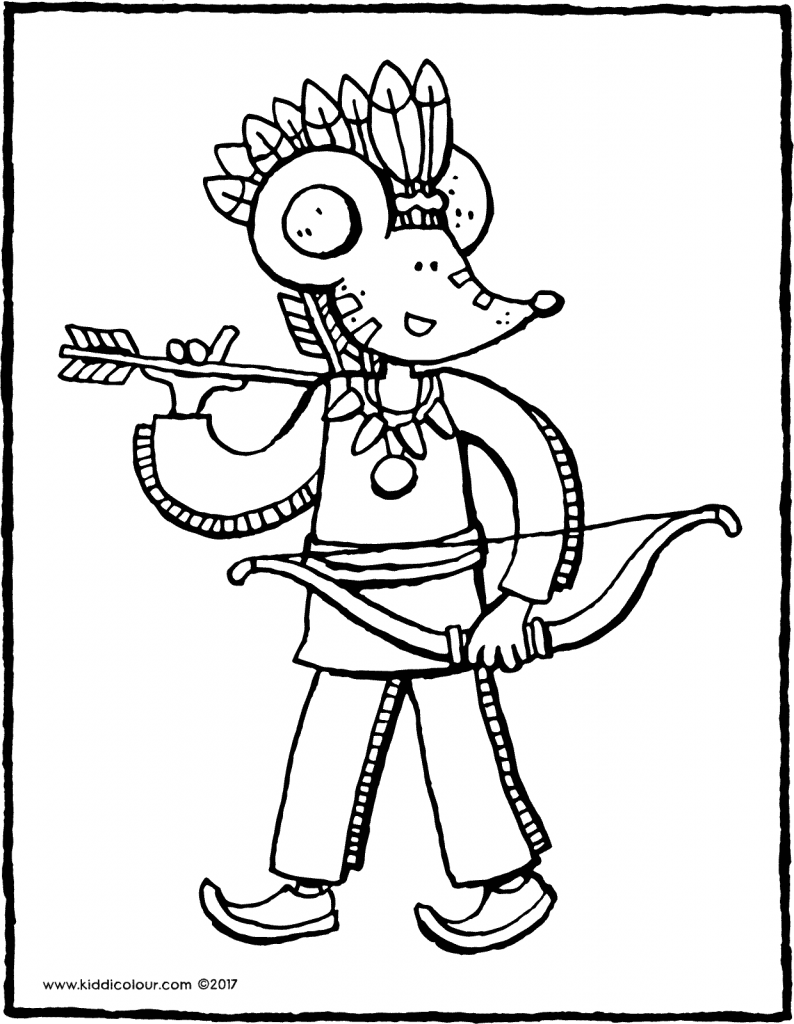 Thomas the Indian colouring page drawing picture 01V