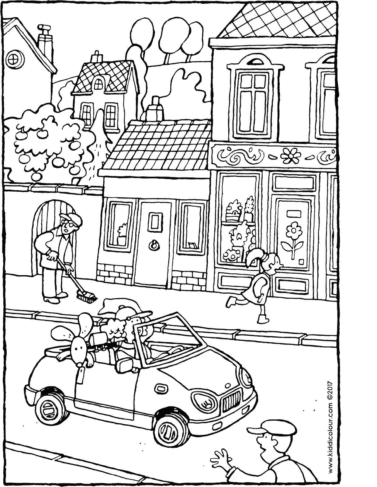 a car in the street colouring page drawing picture 01V