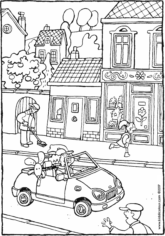 a car in the street colouring page drawing picture 01k
