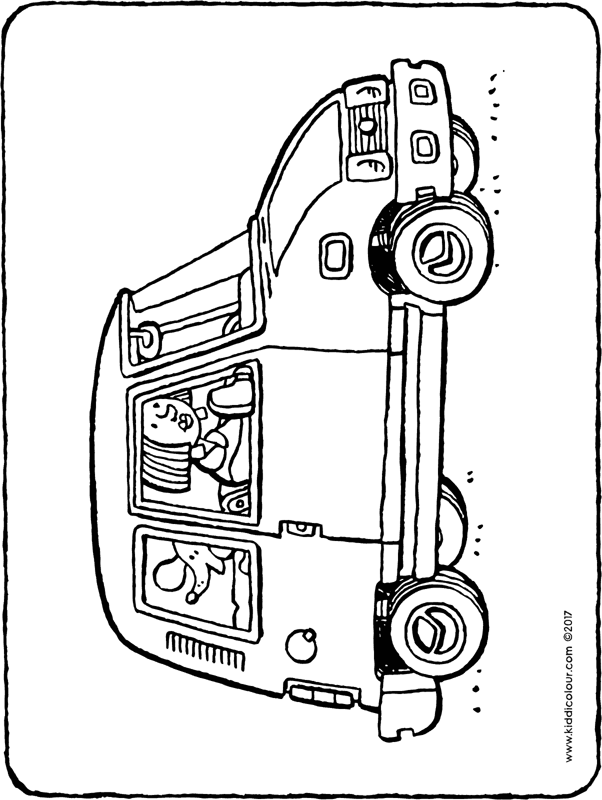 a dog in a car colouring page drawing picture 01H