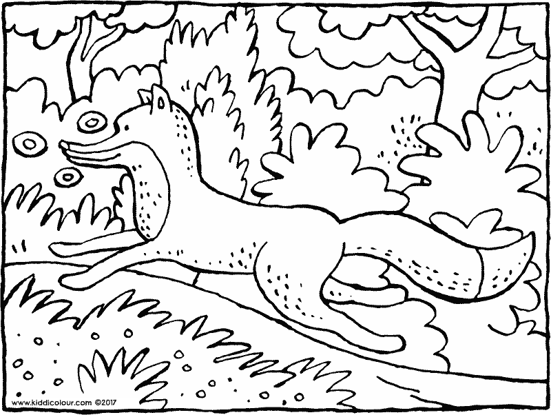 a fox running through the woods colouring page drawing picture 01k