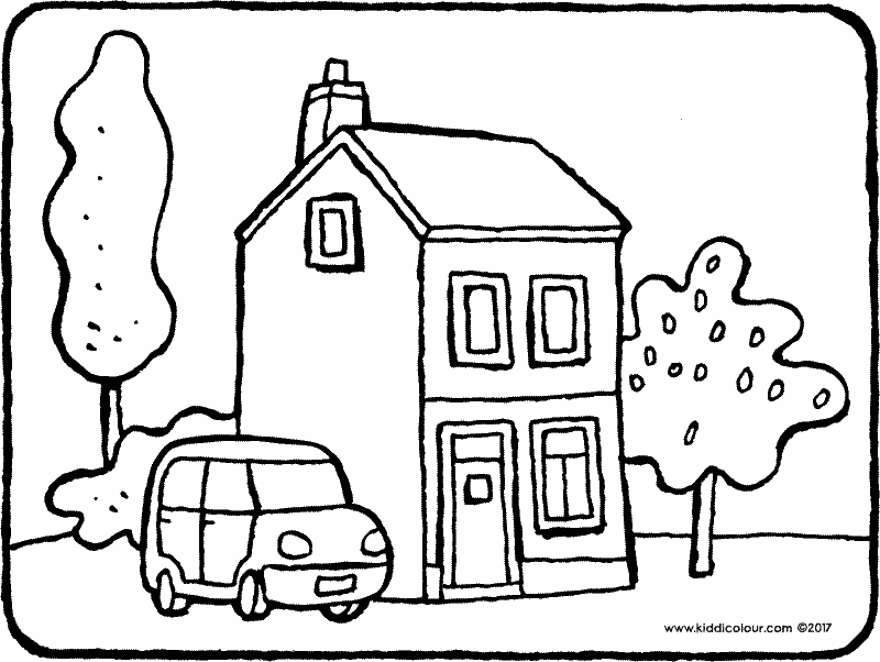 a house with trees colouring page drawing picture 01k