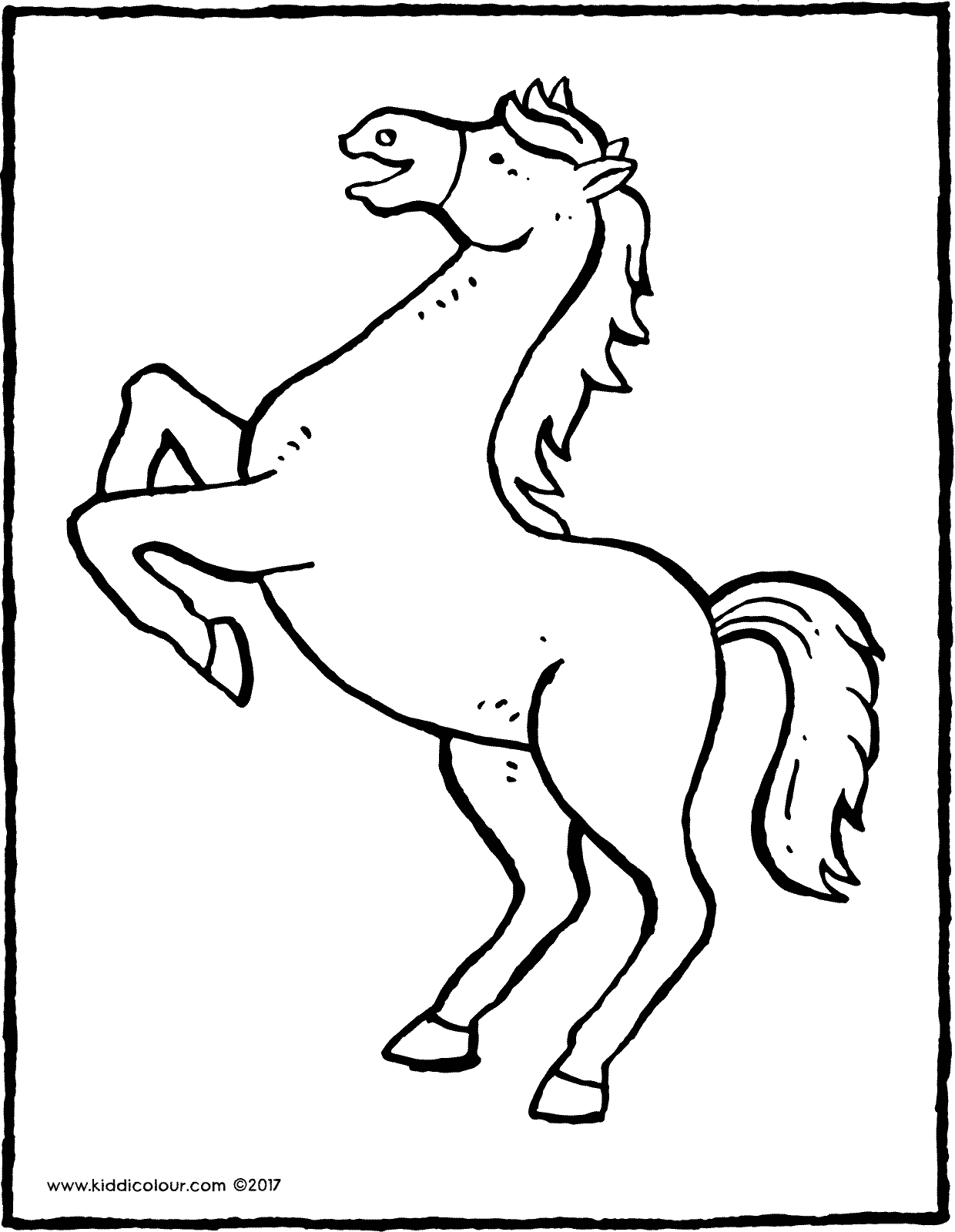a rearing horse colouring page drawing picture 01V