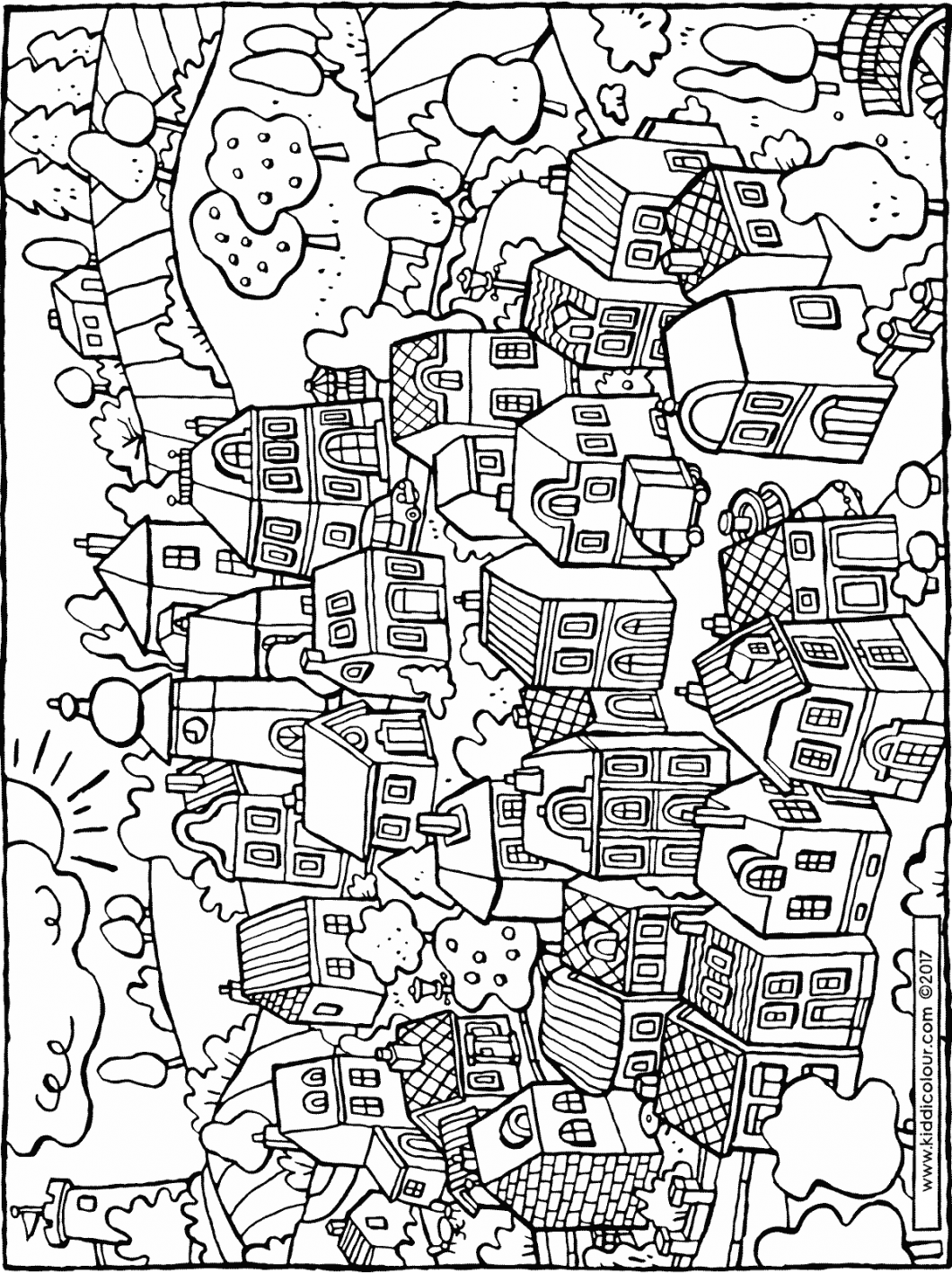 a small village colouring page drawing picture 01H