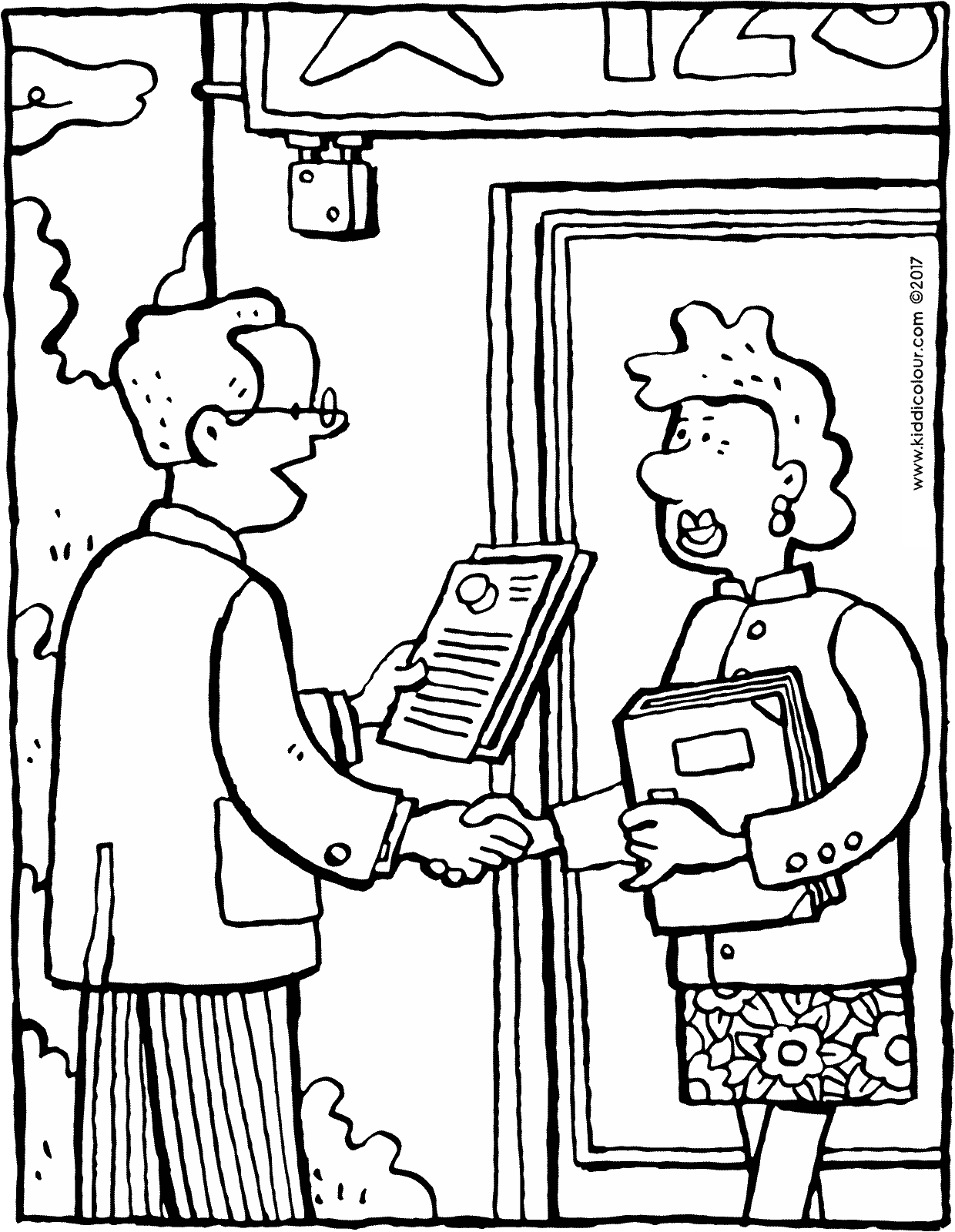 a strong handshake colouring page drawing picture 01V
