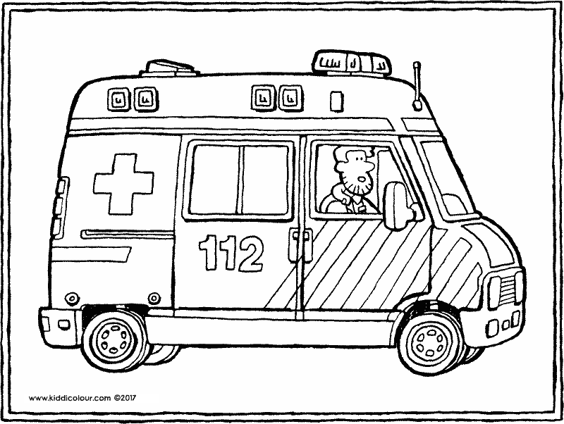 ambulance colouring page drawing picture 01k