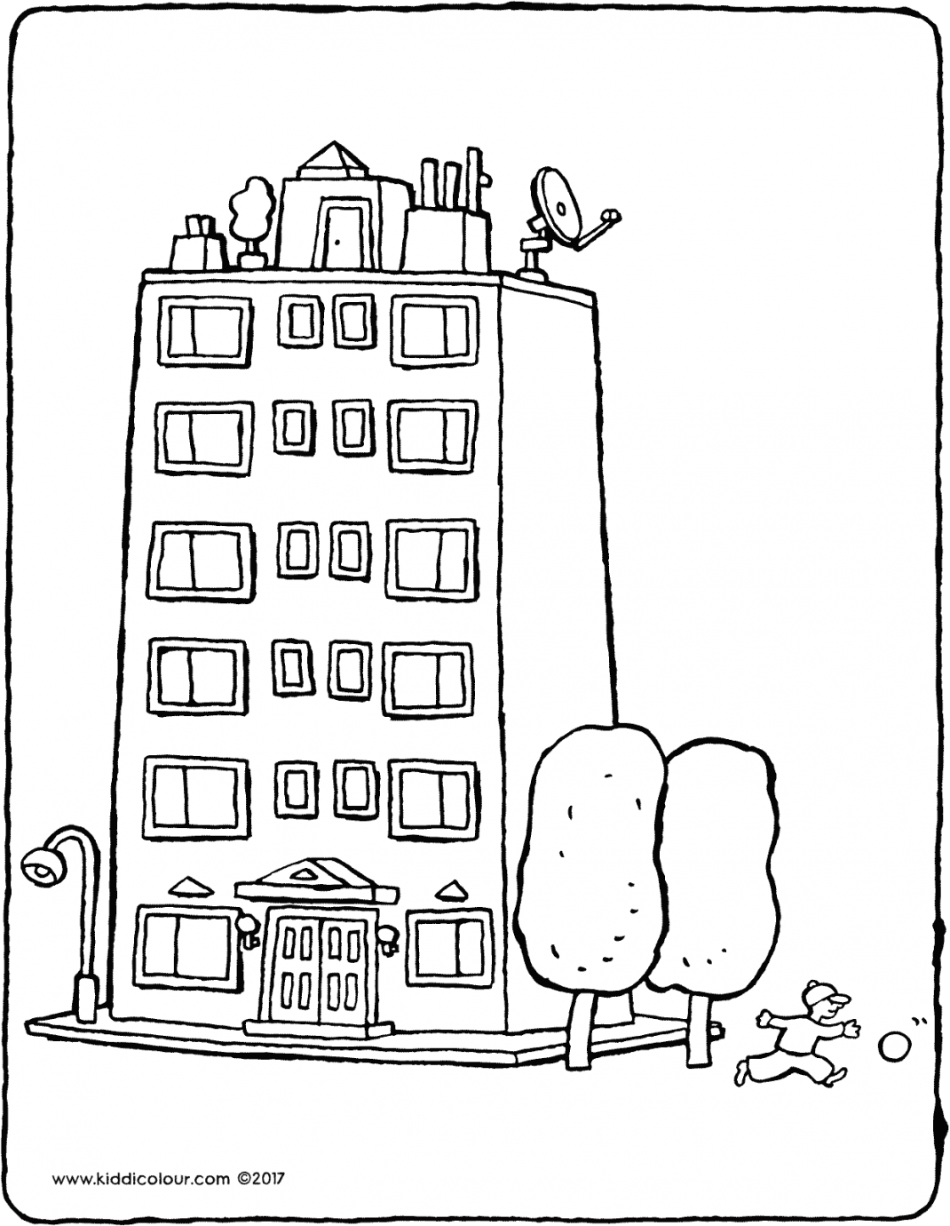 apartment building colouring page drawing picture 01V