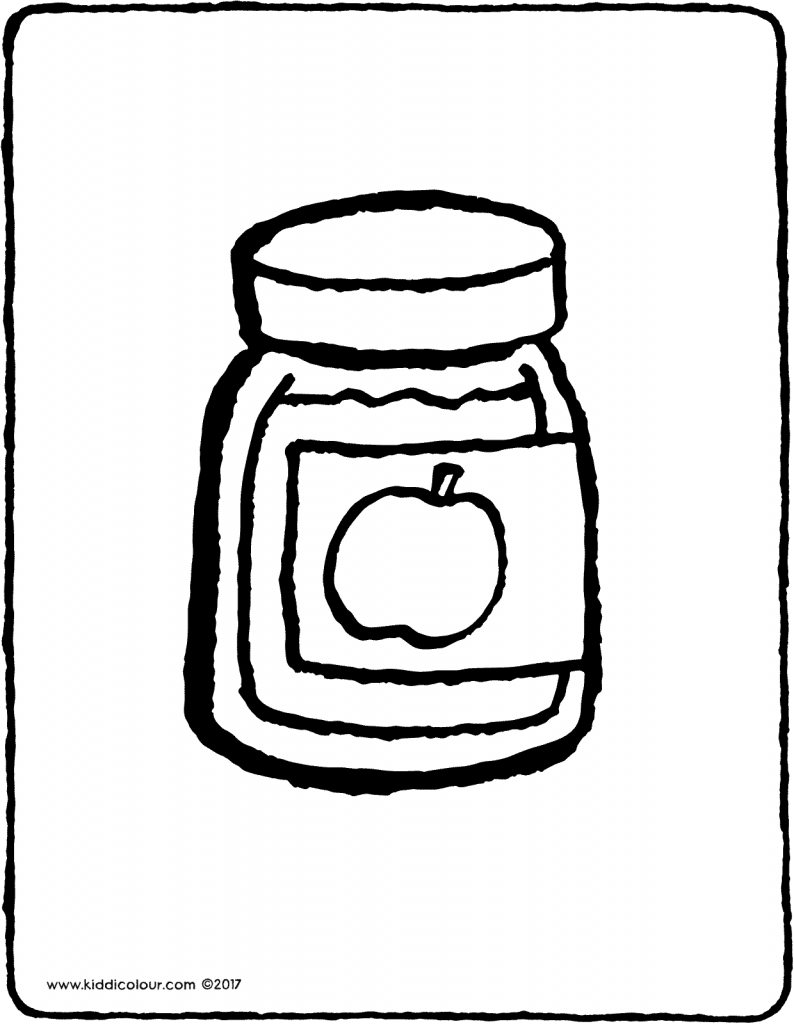 apple sauce in a jar colouring page drawing picture 01V