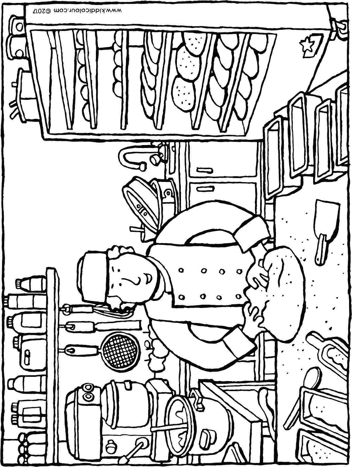 baker baking bread colouring page drawing picture 01H