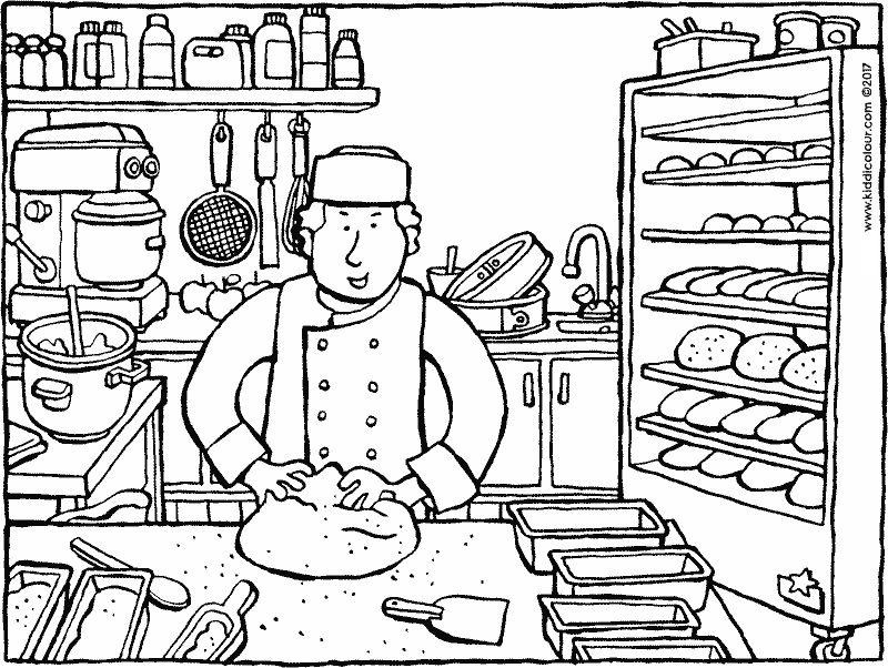 baker baking bread colouring page drawing picture 01k
