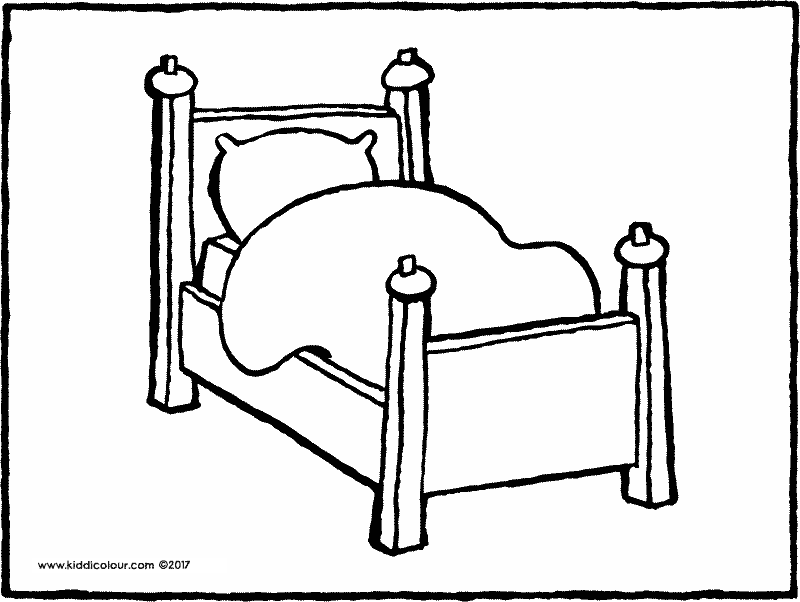 bed colouring page drawing picture 01k