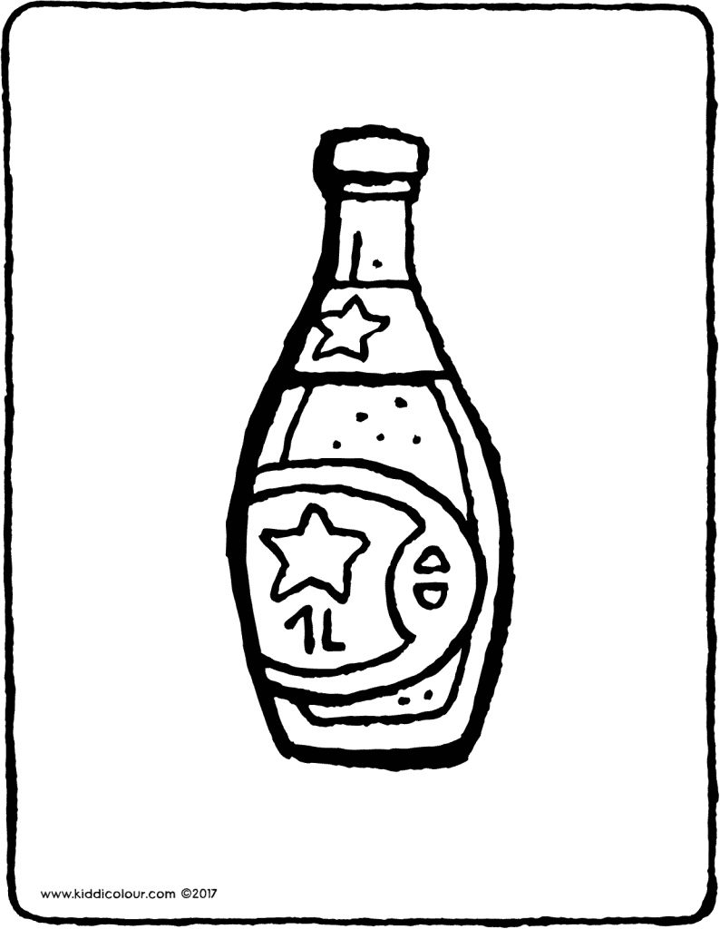 bottle of lemonade colouring page drawing picture 01V