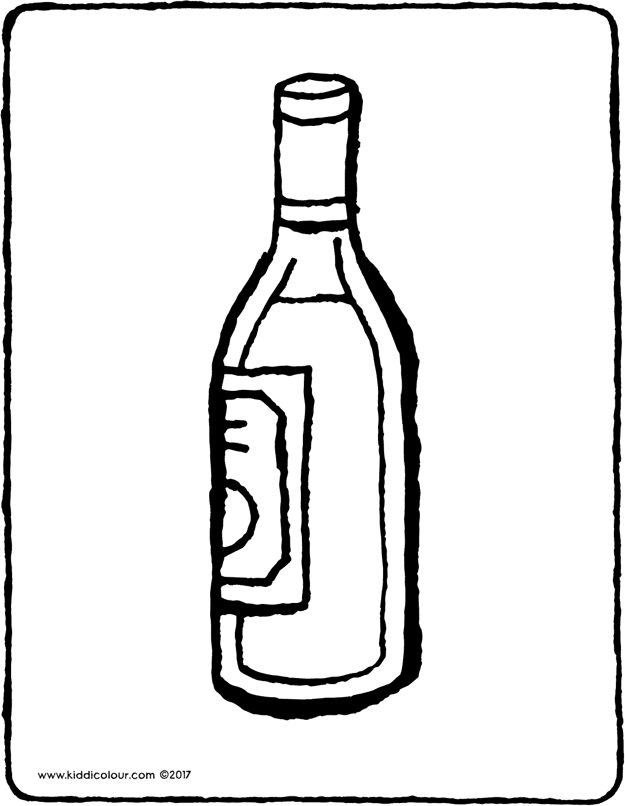 bottle of wine colouring page drawing picture 01V