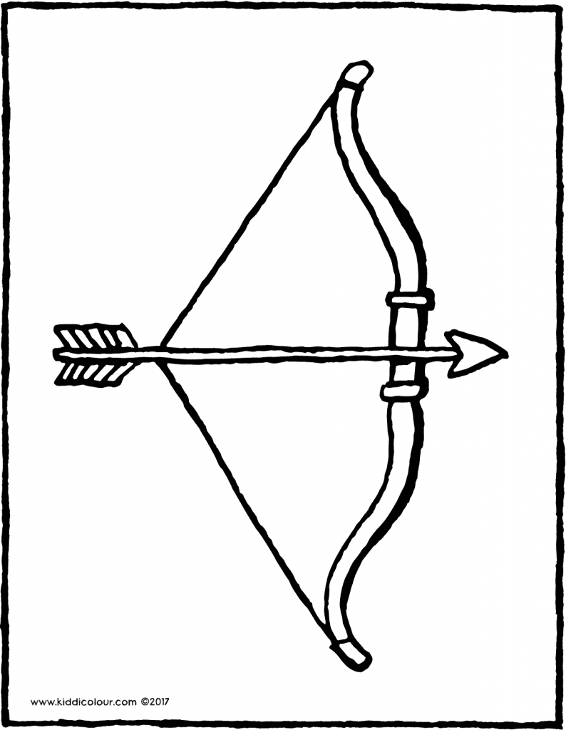 bow and arrow colouring page drawing picture 01V