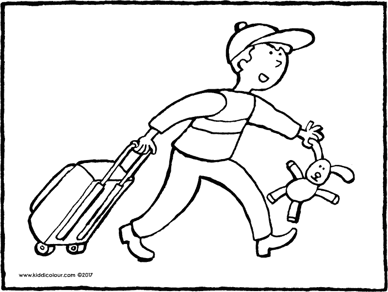 boy with suitcase colouring page drawing picture 01k