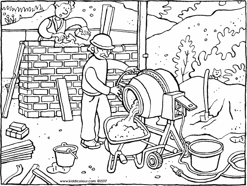 building site colouring page drawing picture 01k