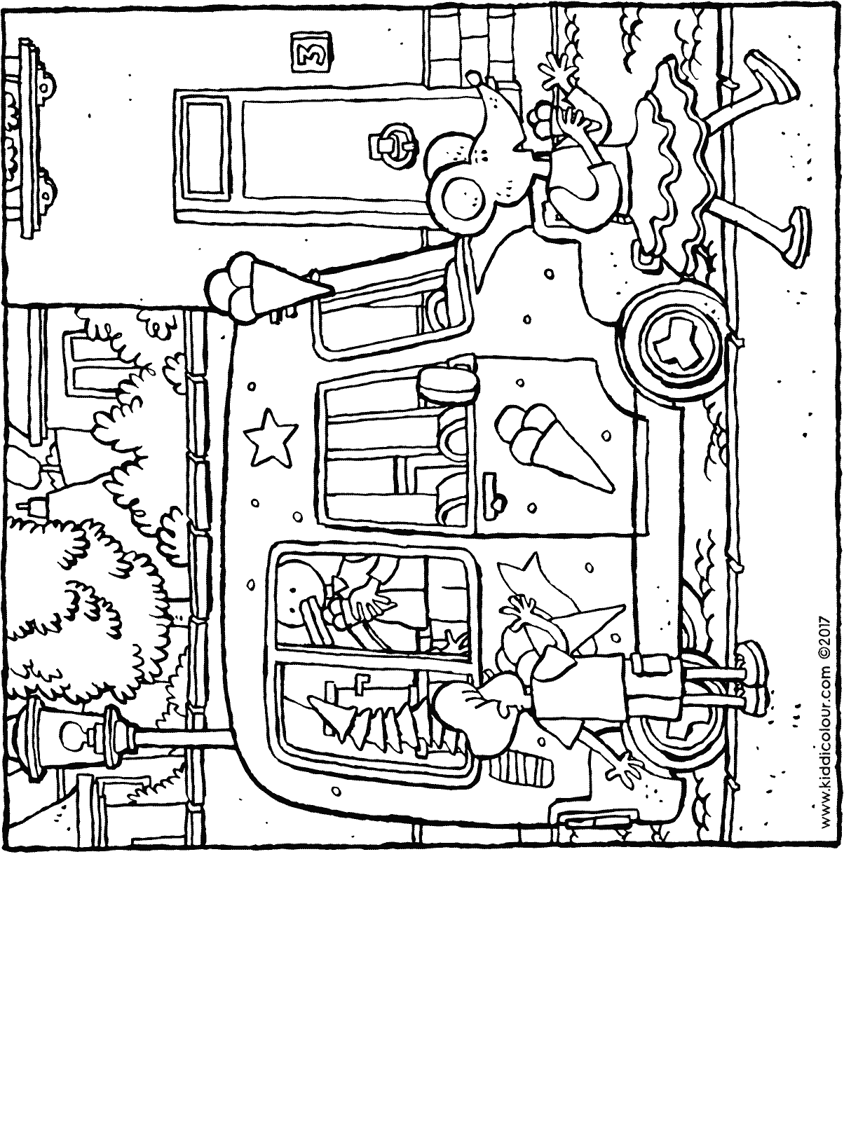 buying an ice-cream colouring page drawing picture 01H