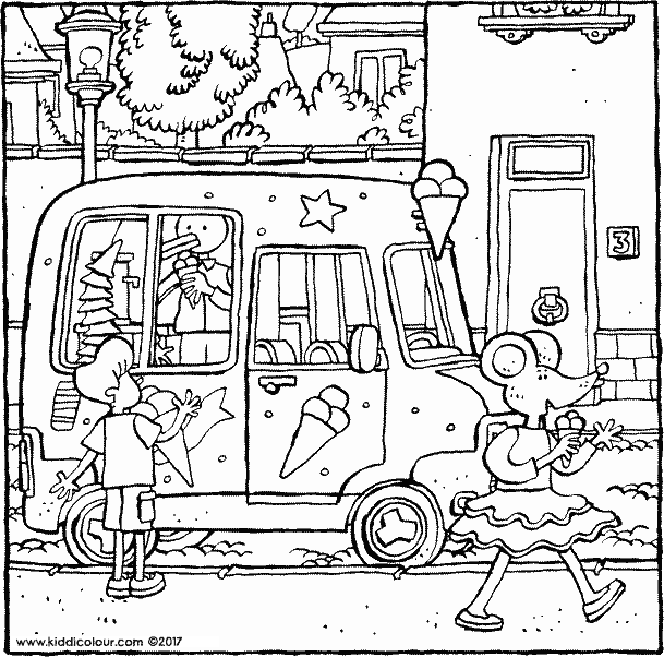Cat ice cream coloring pages ~ ice-cream colouring pages - kiddicolour