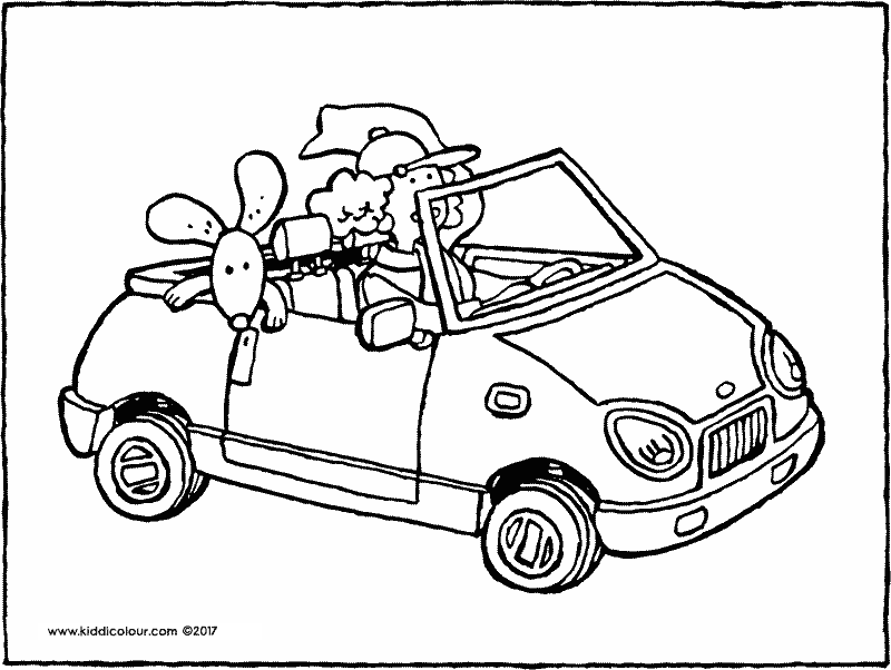 car with dog colouring page drawing picture 01k