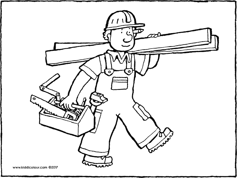 carpenter colouring page drawing picture 01k