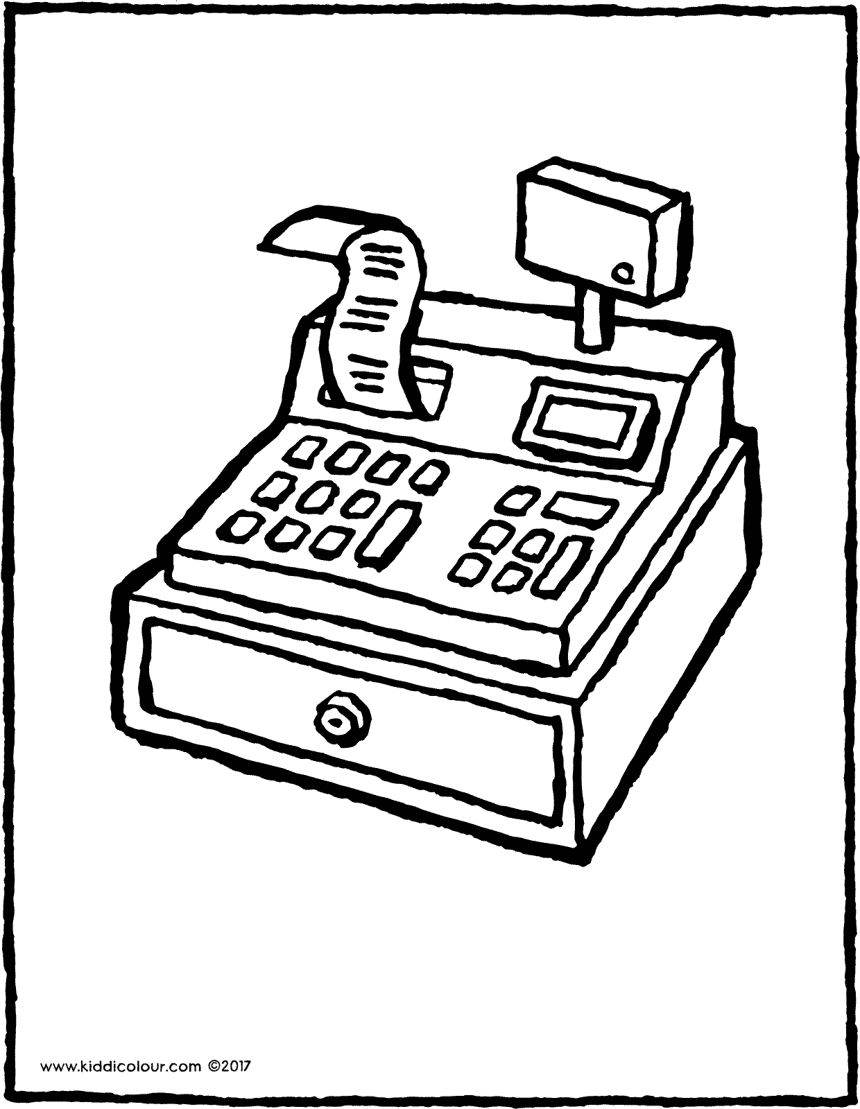 cash register colouring page drawing picture 01V