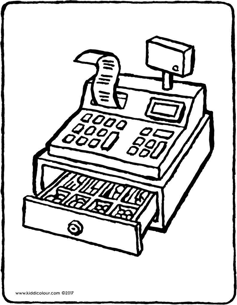 cash register with money colouring page drawing picture 01V