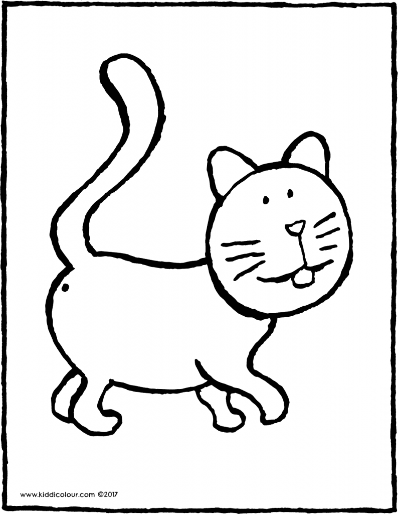 cat colouring page drawing picture 02V