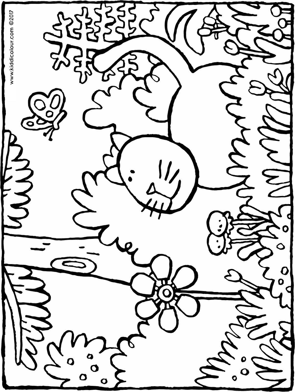 cat in the grass colouring page drawing picture 01H