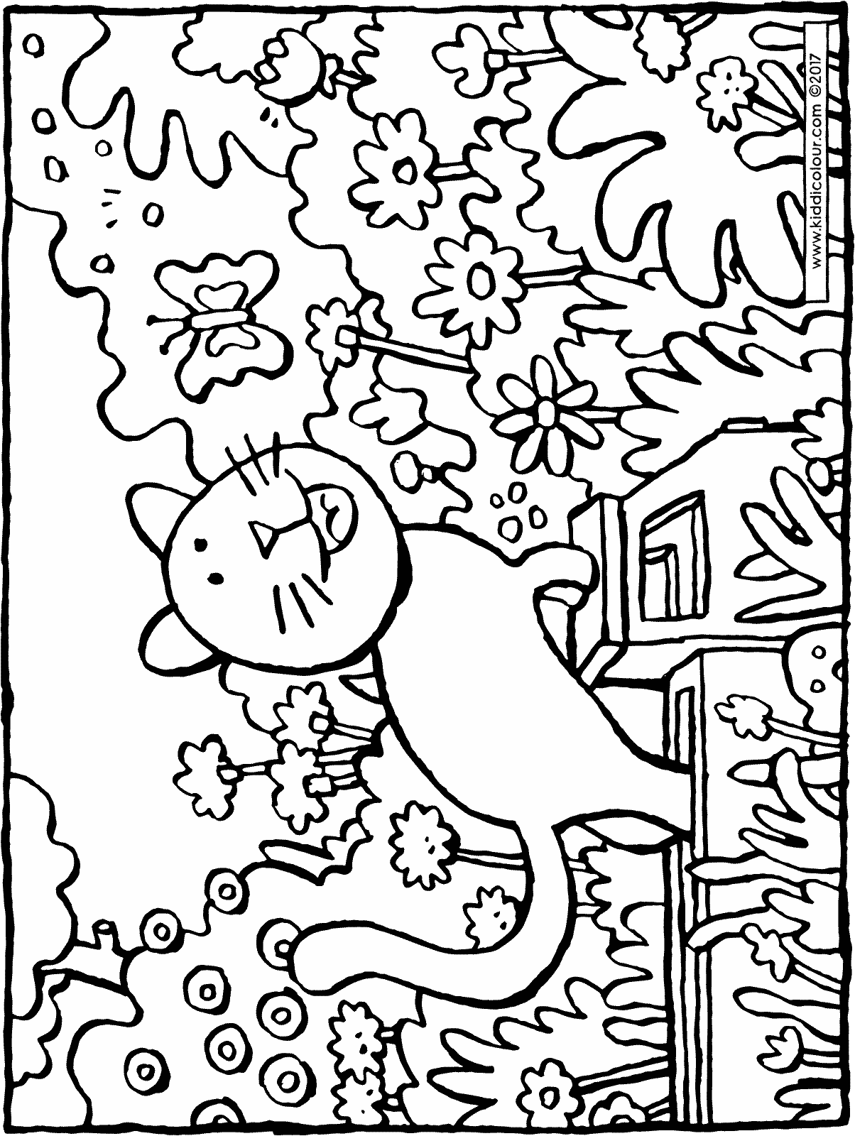 cat with butterfly colouring page drawing picture 01H