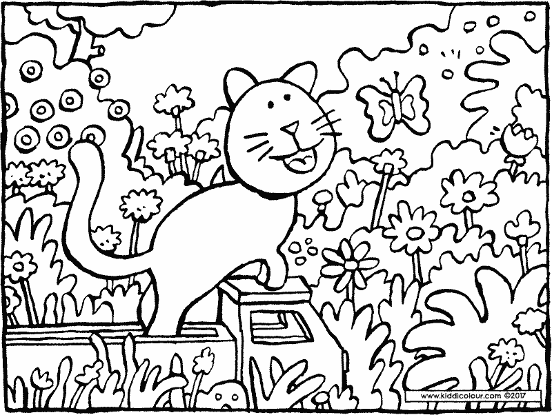 cat with butterfly colouring page drawing picture 01k