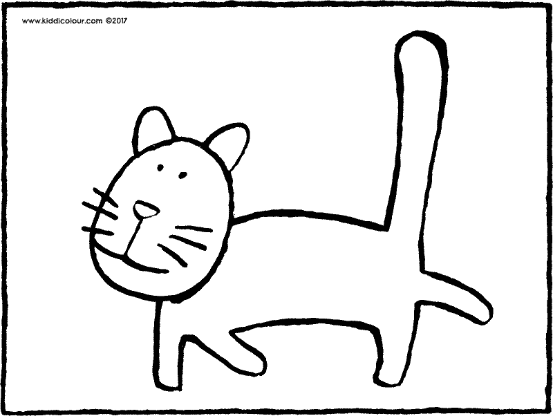cat with long tail colouring page drawing picture 03k