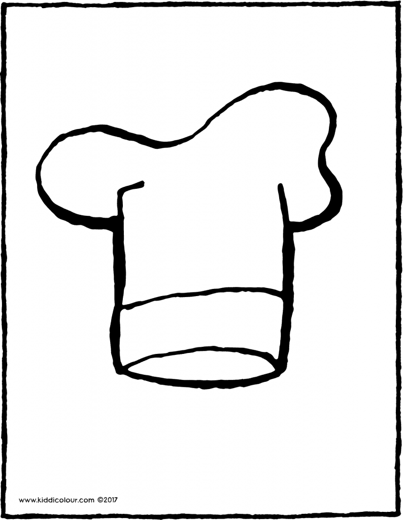 chef's hat colouring page drawing picture 01V